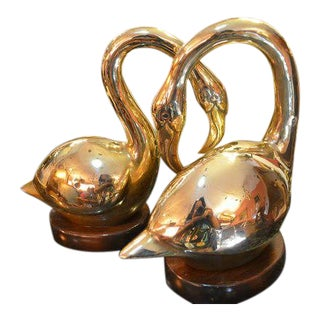 Mid Century Gold Brass Swan Figurines on Wood Bases - Pair For Sale