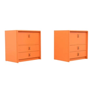 Pair of Paul Frankl Nightstands 'Orange Lacquer and Brass Hardware', 1950s