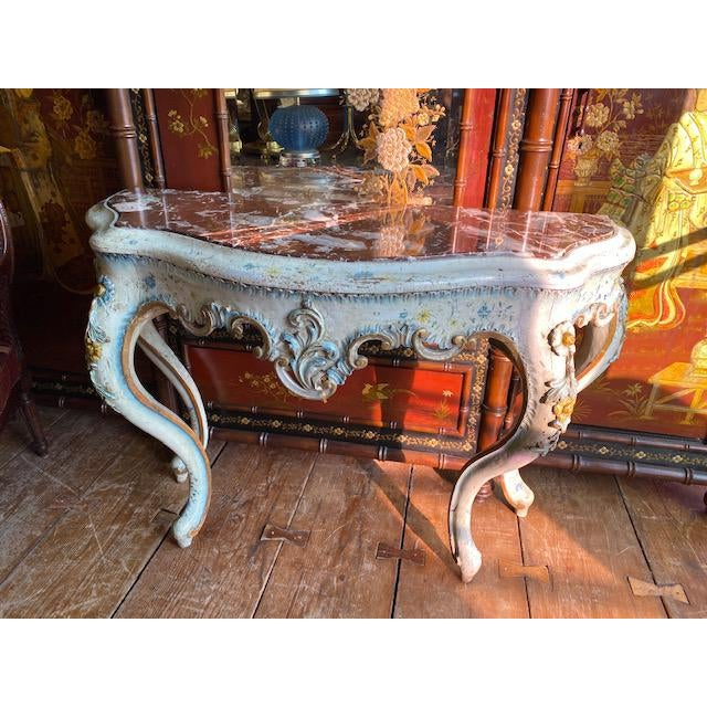 19th C. Venetian Painted White and Blue Console For Sale - Image 13 of 13