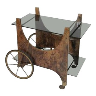 Italian Lacquered Goatskin Bar Cart or Serving Cart by Aldo Tura For Sale