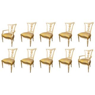20th C. Cream and Parcel Gilt Dining Chairs - Set of 10 For Sale