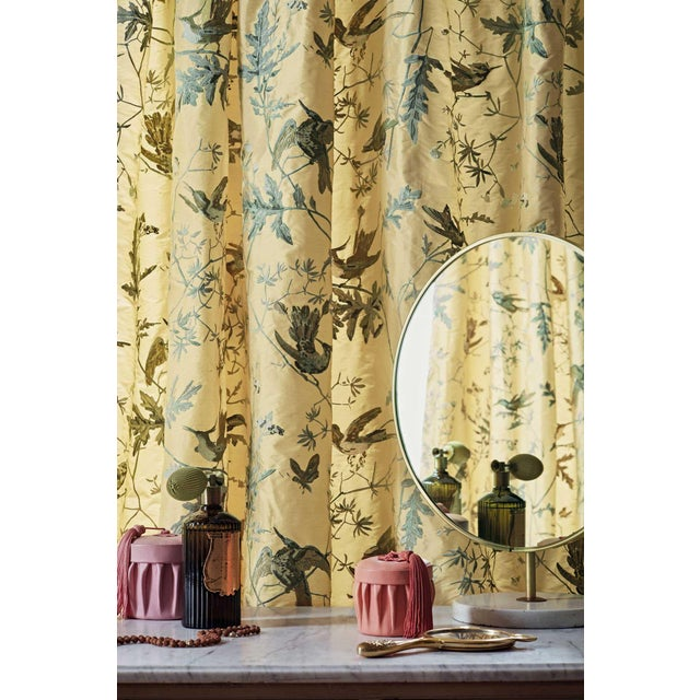 English Cream Background Silk Fabric- Sample For Sale - Image 3 of 5