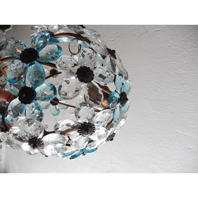 1920s French Aqua Blue Flower Ball Crystal Prisms Maison Baguès Style Chandelier For Sale - Image 5 of 11