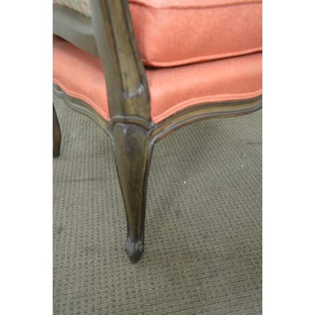 Orange French Louis XV Style Custom Quality Pair of Fauteuils Arm Chairs For Sale - Image 8 of 13