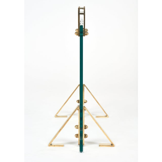 Gold Mid-Century Glass & Brass Fire Screen attributed to Jacques Adnet For Sale - Image 8 of 10