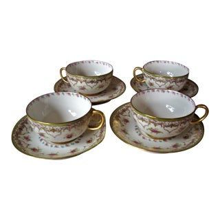 J. Pouyat Limoges China Tea Cups/Saucers - Set of 4 For Sale