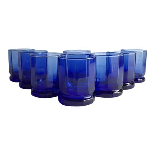 Cobalt Blue Rocks Glasses - Set of 8 For Sale