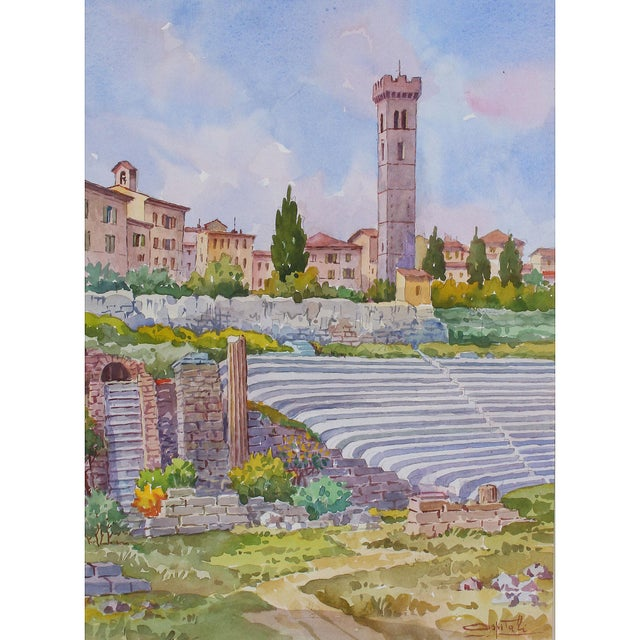 Signed original watercolor by Giovanni Ospitali (1927 – 2016) of the Roman amphitheater in Fiesole, Tuscany....