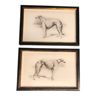 Vintage Original Borzoi Dog Etchings Signed a Pair For Sale