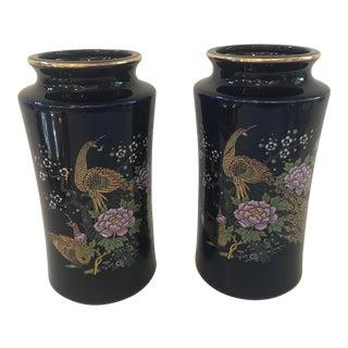Vintage Dark Blue Ceramic Vases - a Pair For Sale