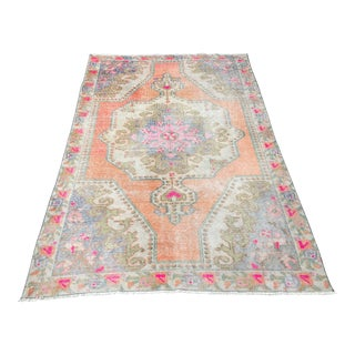 1960s Vintage Turkish Oushak Faded Rug - 4′3″ × 7′ For Sale