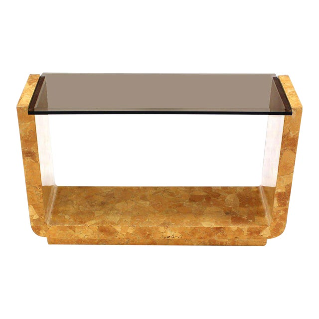 Vintage Mid Century Burl Wood Smoked Smoked Glass Top U-Shape Console Table For Sale