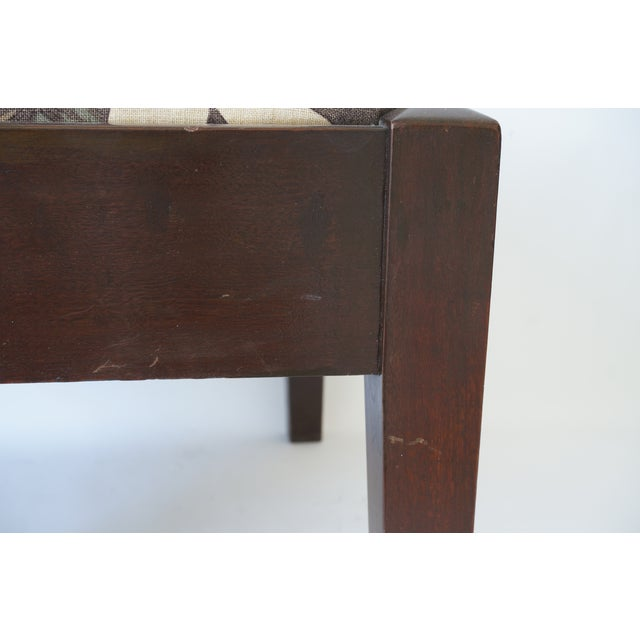 Brown Mid-Century Footstool Low Bench Mahogany With Palm Frond Motif Upholstery For Sale - Image 8 of 12