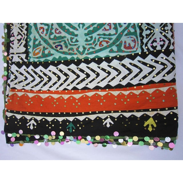 Boho Chic Indian Quilted Blanket For Sale - Image 3 of 5