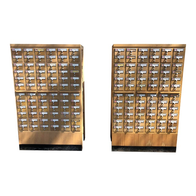 Mid-Century 72-Drawer Library Card Catalogs For Sale
