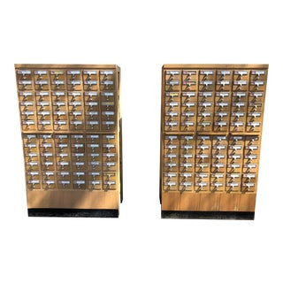 Mid-Century 72-Drawer Library Card Catalogs, Two Available For Sale