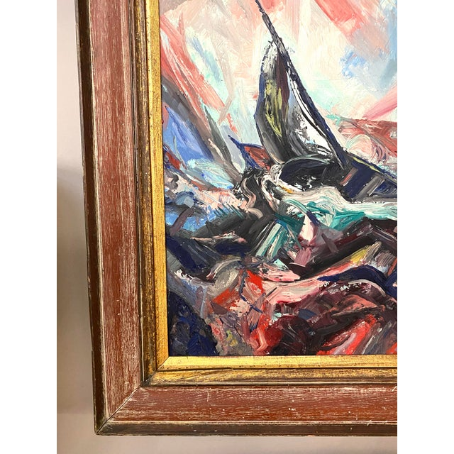 Canvas Large Vintage Oil on Canvas Signed Charles Melohs Seascape Nautical Scene Painting Framed For Sale - Image 7 of 8