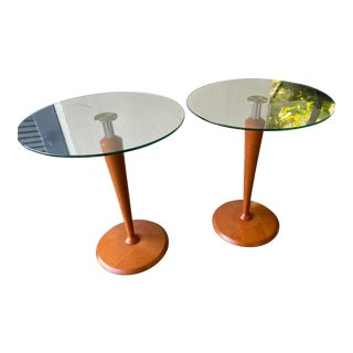 Calligaris Postmodern Tempered Glass Wood and Stainless Steel Tables - a Pair For Sale