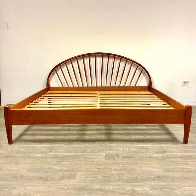 Wood Jespersen Danish Modern Teak King Bed For Sale - Image 7 of 11
