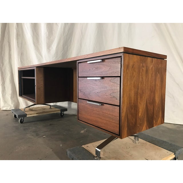 Wood Imperial Staggered Desk & Credenza For Sale - Image 7 of 11