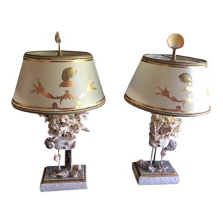 1970s Gold Shell Lamps with Shell Motif Shades - a Pair For Sale