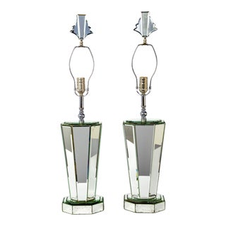 Modern Beveled Mirror & Chrome Lamps W/ Deco Finials - a Pair For Sale