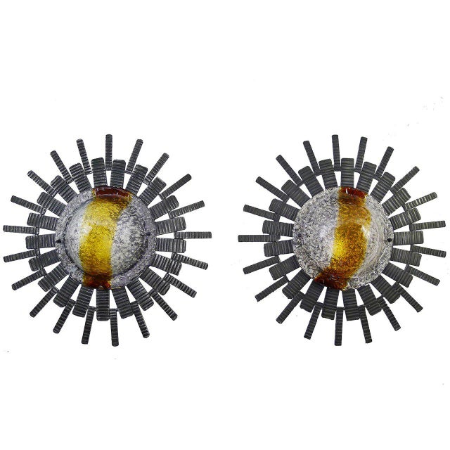 Mazzega Murano Large Mid-Century Brutalist Sconces - A Pair For Sale - Image 4 of 4