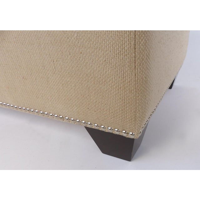 Fabric Upholstered Blanket Chest Bench With Nail-Head Details For Sale - Image 7 of 8