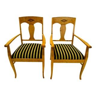 Swedish Jugendstil Birch Armchairs - A Pair