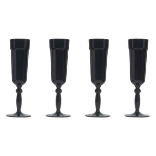 Black Florentine Champagne Flutes - Set of 4 For Sale