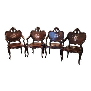 Carved Chinese Mother of Pearl Armchairs - Set of 4