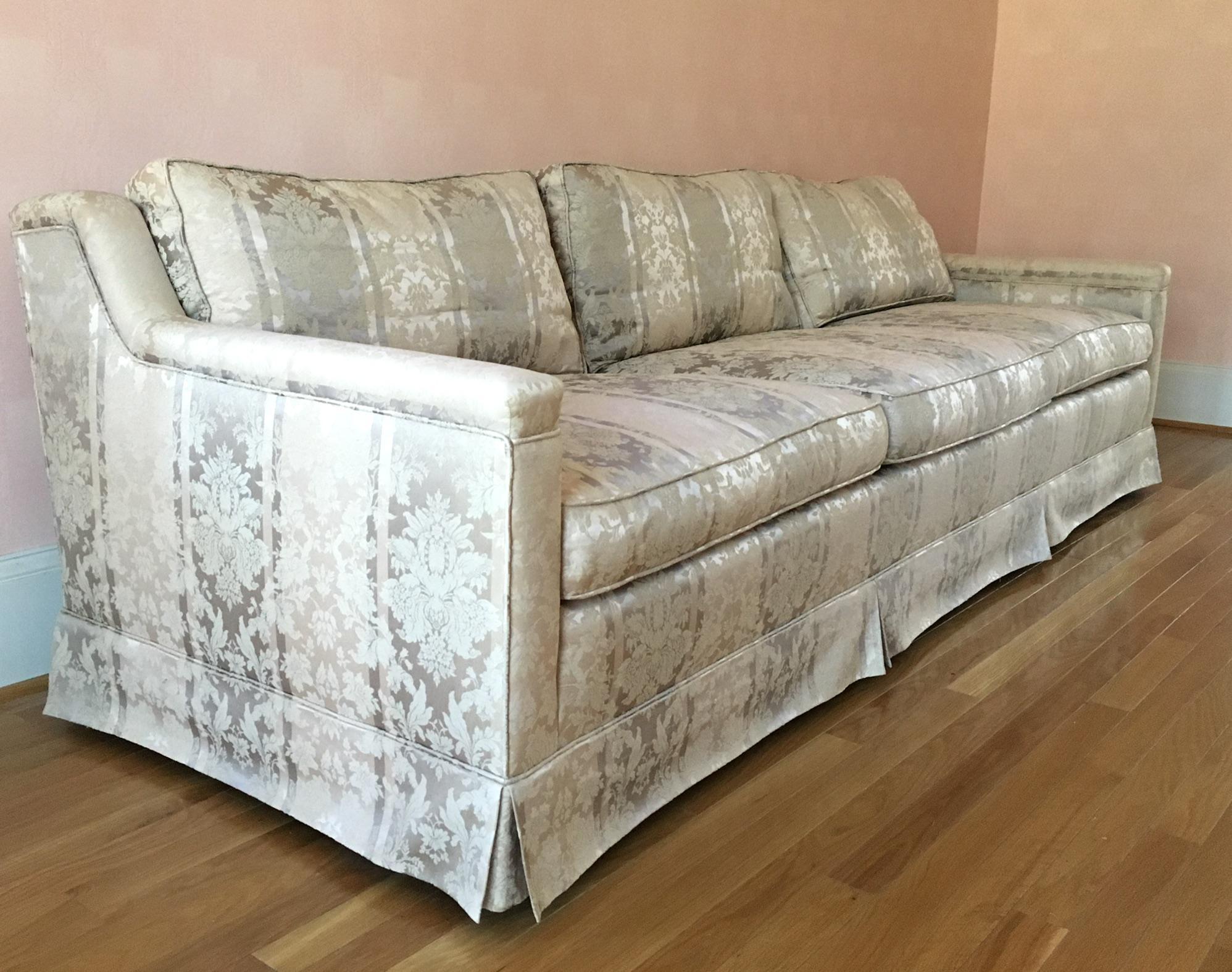 Gray Saladino For Baker Furniture Silk U0026 Cotton Sofa For Sale   Image 8 ...