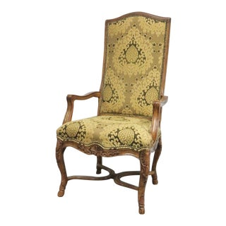 Century Furniture Louis XV Style Carved Walnut Highback Chair For Sale