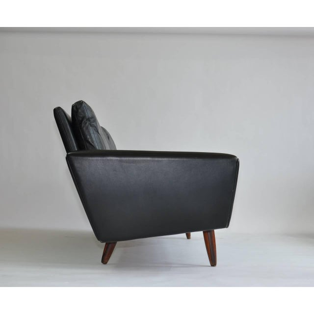 Black Danish Leather Sofa With Rosewood Legs For Sale - Image 8 of 11