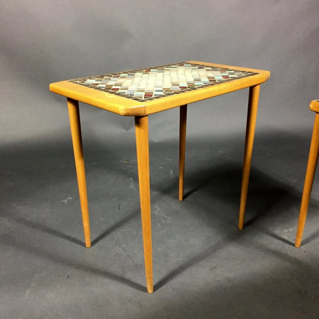 1960s Birch & Glass Mosaic Nesting Tables, Set of 3 For Sale - Image 10 of 12