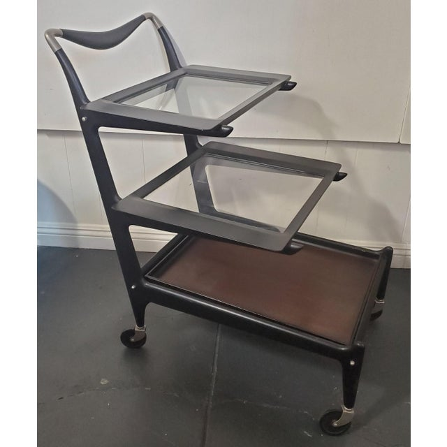 Italian Modern Tea trolley Bar Cart by Cesare Lacca 50âs