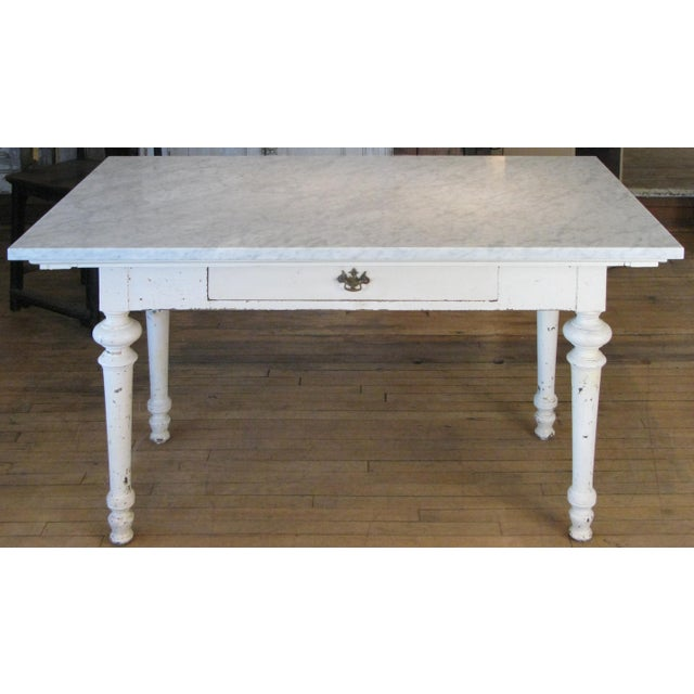Antique 19th Century Refectory Table With Venatino Marble Top For Sale - Image 9 of 9