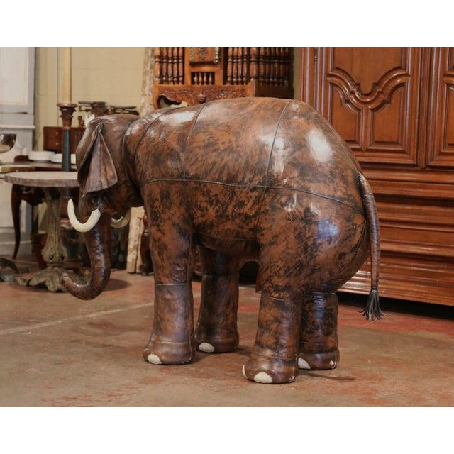 French Vintage Life Size Patinated Brown Leather Calf Baby Elephant For Sale - Image 3 of 9