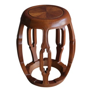 Chinoiserie Carved Teak Drum Stool