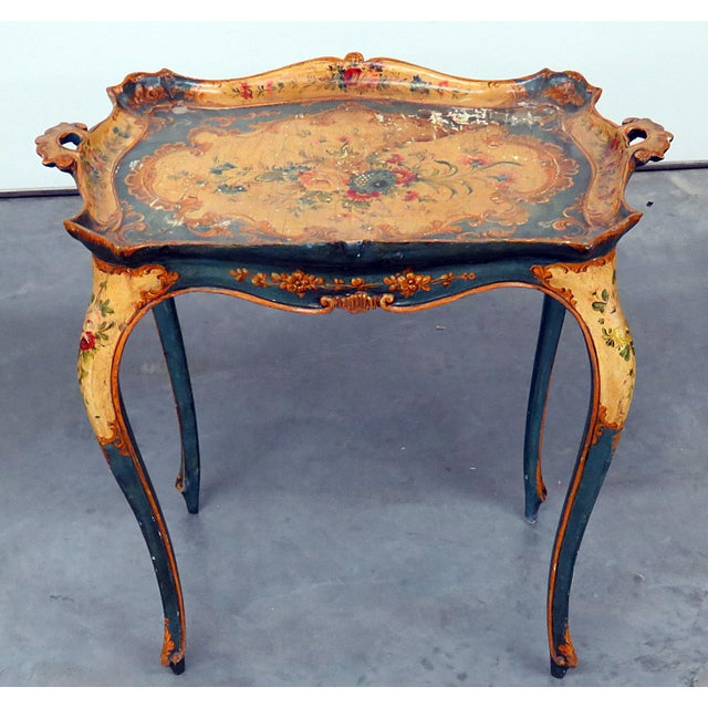 Green 18th Century Italian Venetian Tray Table For Sale - Image 8 of 9