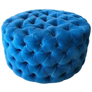 Blue Tufted Velvet Round Ottoman, Custom For Sale