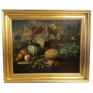 Fruit Still Life Oil on Canvas Painting Signed James Charles Ward Circa 1830-1975 For Sale