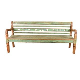 Indoor/Outdoor Green Reclaimed Peroba Wood Bench