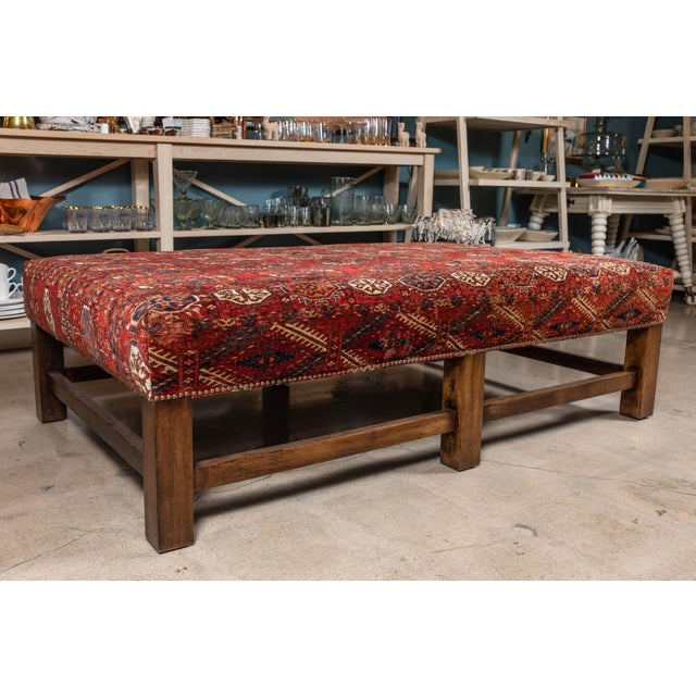 Large Scale Ottoman Upholstered With a Vintage Rug Textile For Sale - Image 11 of 13