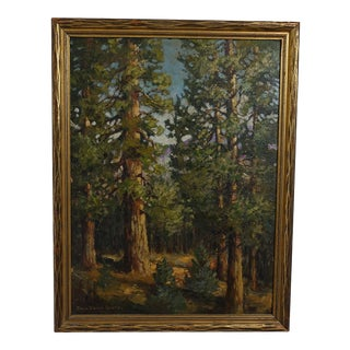 California Redwood Trees Landscape Painting 1922 Signed Grolle For Sale
