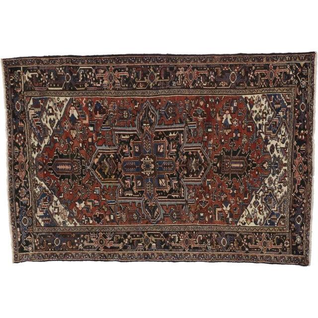 Vintage Persian Heriz Rug- 7′5″ × 10′9″ For Sale In Dallas - Image 6 of 6