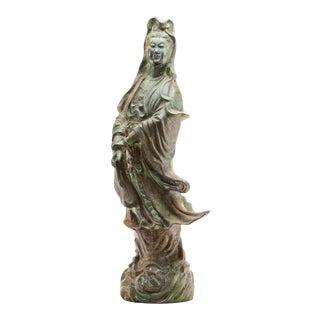 Lawrence & Scott Scale Verdigris Bronze Figure of Guan Yin Goddess of Mercy For Sale