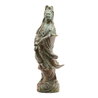 Lawrence & Scott Scale Verdigris Bronze Figure of Guan Yin Goddess of Mercy With Rosewood Stand For Sale