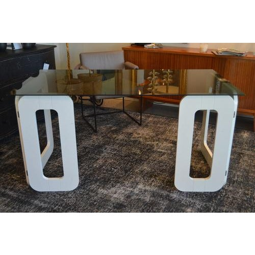 Vintage desk from France, great minimal/contemporary styling. Features two foldable white bases and smoked glass top,...