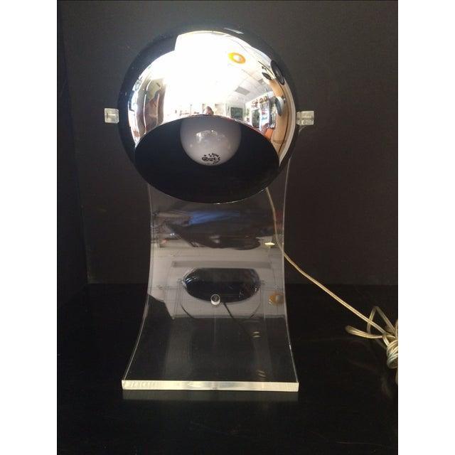Robert Sonneman Chrome Eyeball & Lucite Lamp by Robert Sonneman For Sale - Image 4 of 7